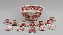 COPELAND RED TRANSFER-PRINTED FOOTED PUNCH BOWL AND EIGHT MATCHING DEMITASSE CUPS AND TWELVE SAUCERS