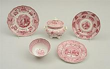GROUP OF FIVE STAFFORDSHIRE RED TRANSFER-PRINTED ARTICLES