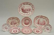 GROUP OF NINE STAFFORDSHIRE RED TRANSFER-PRINTED TOPOGRAPHICAL ARTICLES