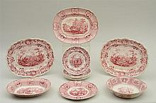 GROUP OF ELEVEN STAFFORDSHIRE RED TRANSFER-PRINTED ARTICLES