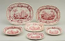 ASSEMBLED SET OF SIX STAFFORDSHIRE RED TRANSFER-PRINTED ARTICLES