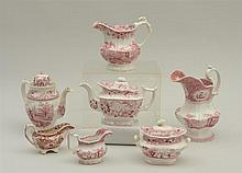 GROUP OF SEVEN STAFFORDSHIRE RED TRANSFER-PRINTED ARTICLES