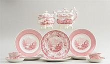 ASSEMBLED GROUP OF FOURTEEN STAFFORDSHIRE RED TRANSFER-PRINTED ARTICLES BY DAVENPORT