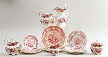 TWLEVE STAFFORDSHIRE RED TRANSFER-PRINTED ARTICLES