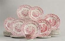 GROUP OF STAFFORDSHIRE RED TRANSFER-PRINTED PLATES
