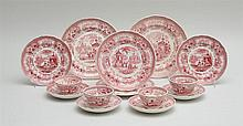 GROUP OF 43 STAFFORDSHIRE RED TRANSFER-PRINTED ARTICLES, IN THE