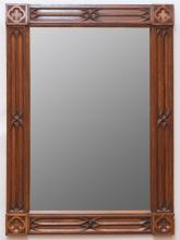 NEO-GOTHIC REVIVAL CARVED OAK MIRROR