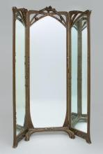 FRENCH ART NOUVEAU CARVED AND PAINTED WOOD THREE-PART CHEVAL MIRROR, ATTRIBUTED TO LOUIS MARJORELLE