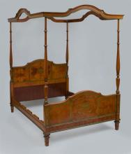 EDWARDIAN PAINTED SATINWOOD FOUR POSTER TESTER BED