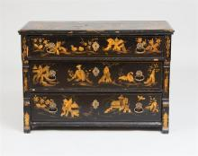 ITALIAN BAROQUE STYLE BLACK PAINTED AND PARCEL-GILT CHEST OF DRAWERS