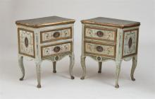 PAIR OF ITALIAN ROCOCO STYLE PAINTED AND PARCEL-GILT SIDE CHESTS, VENETIAN