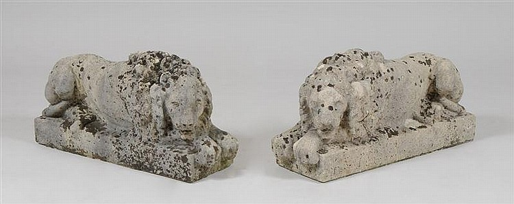 Pair of Cast Stone Recumbent Lions