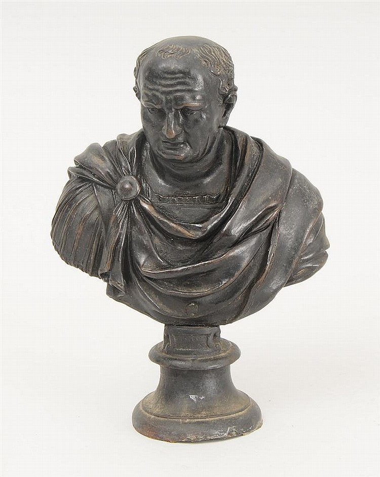 Italian Cast Metal Bust of a Roman, After the Antique