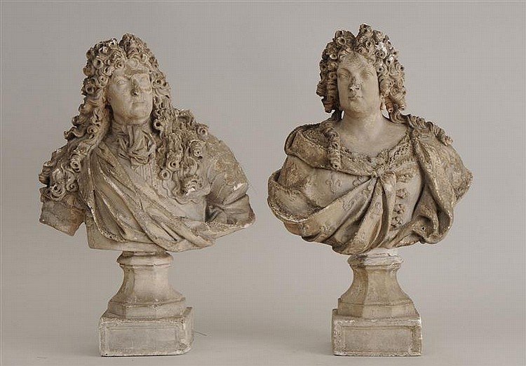 Pair of Louis XIV Style Plaster Busts of a Nobleman and His Wife