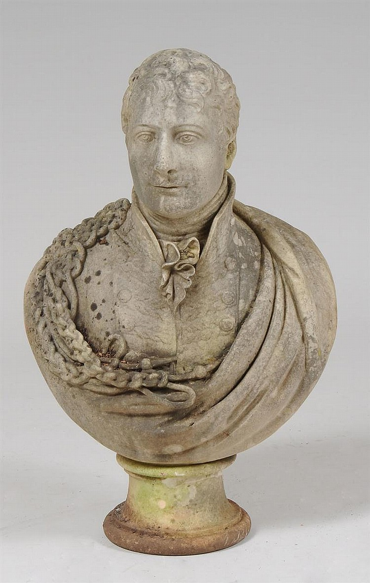 English Marble Bust of a Military Gentleman