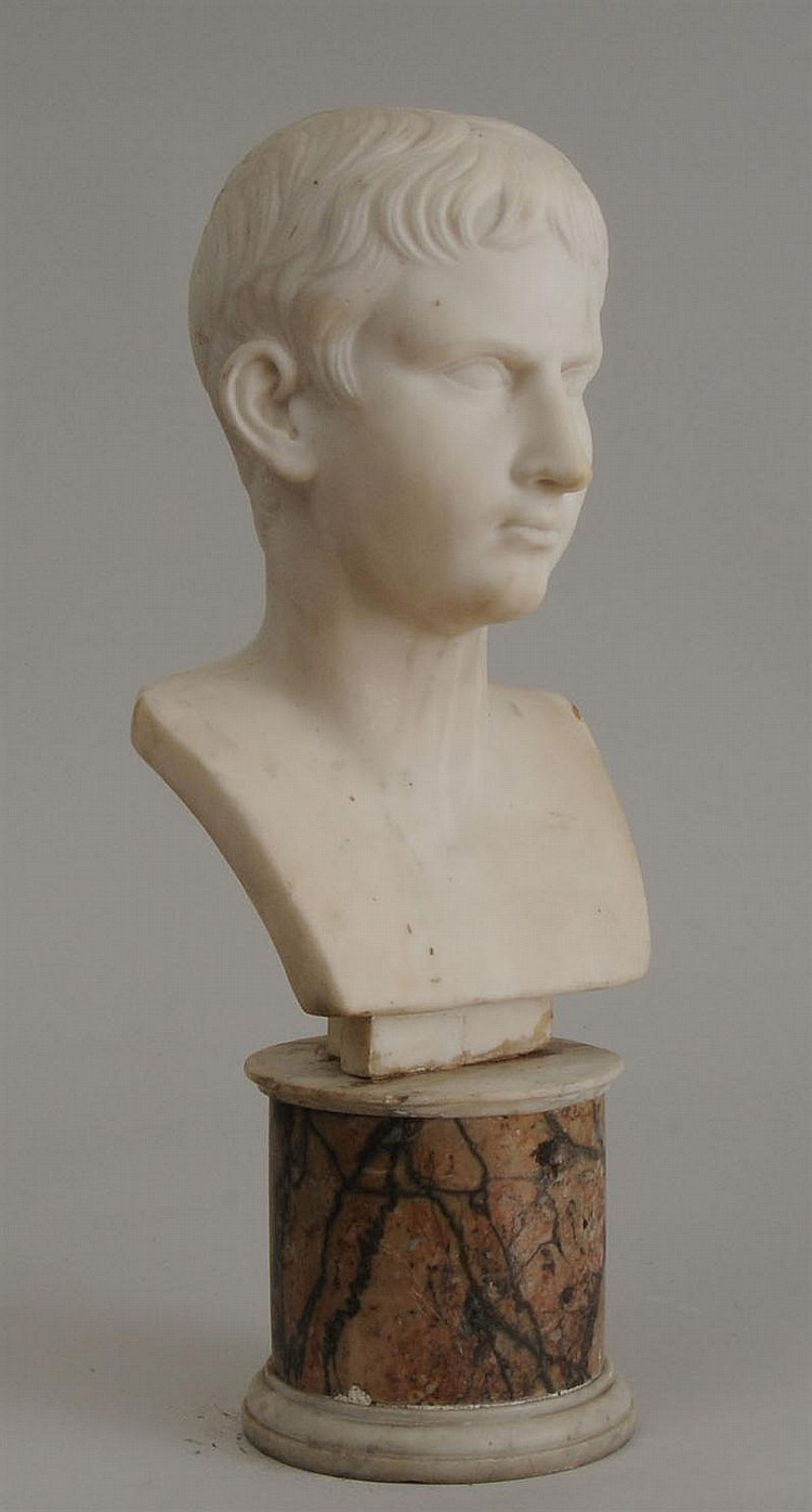 Carved Marble Bust of Lucius or Gaius Caesar, After the Antique