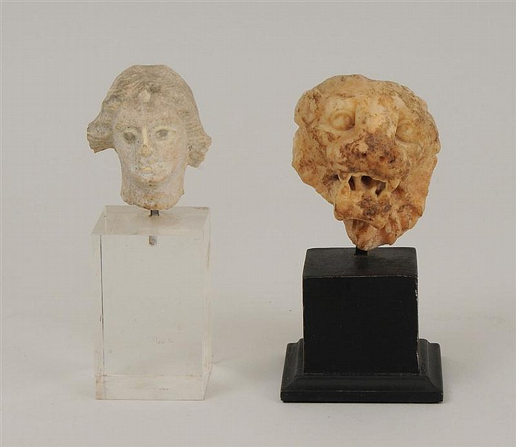 Roman Carved Half-Head of a Roaring Lion and a Terracotta Head of Aphrodite