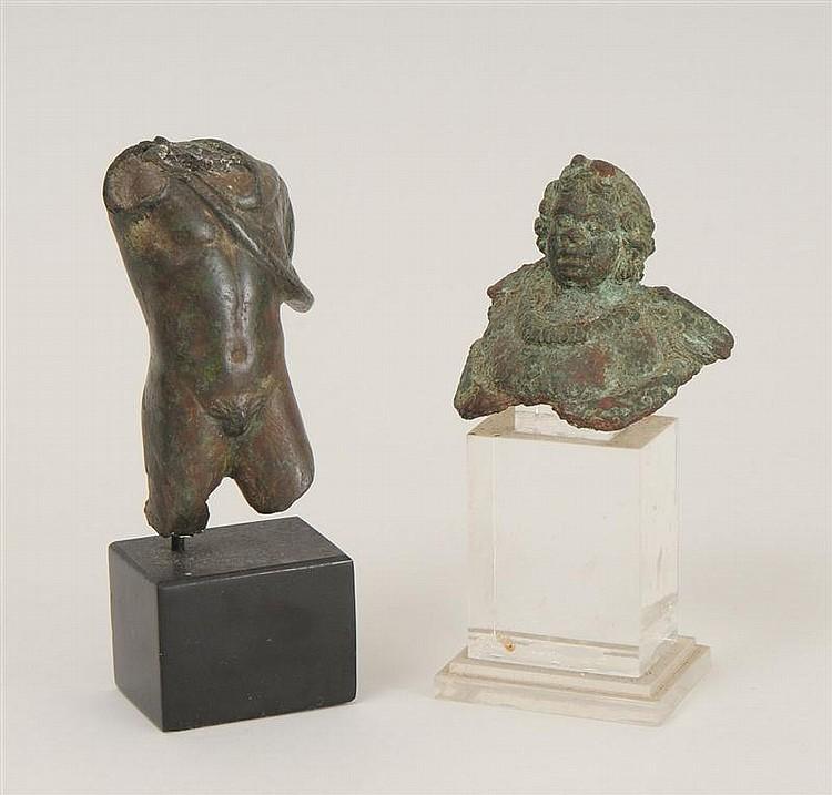 Roman Bronze Patinated Torso of Hercules Draped with Nemean Lion Skin and a Roman Bronze Cherub Head
