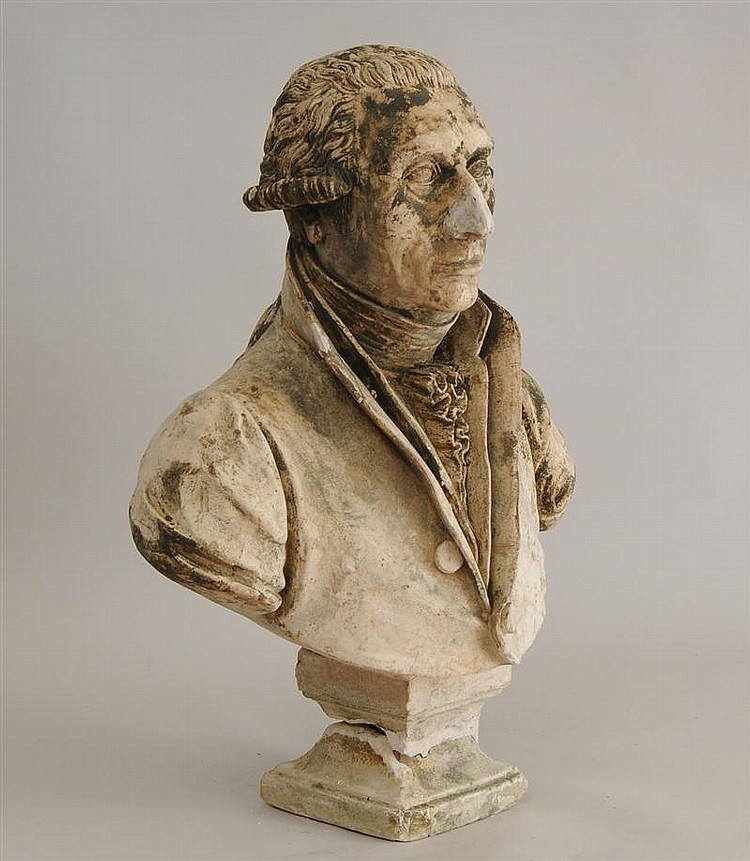 Louis XVI Style Composition Bust of a Gentleman with Collar, Ruff and Buttoned Jabot