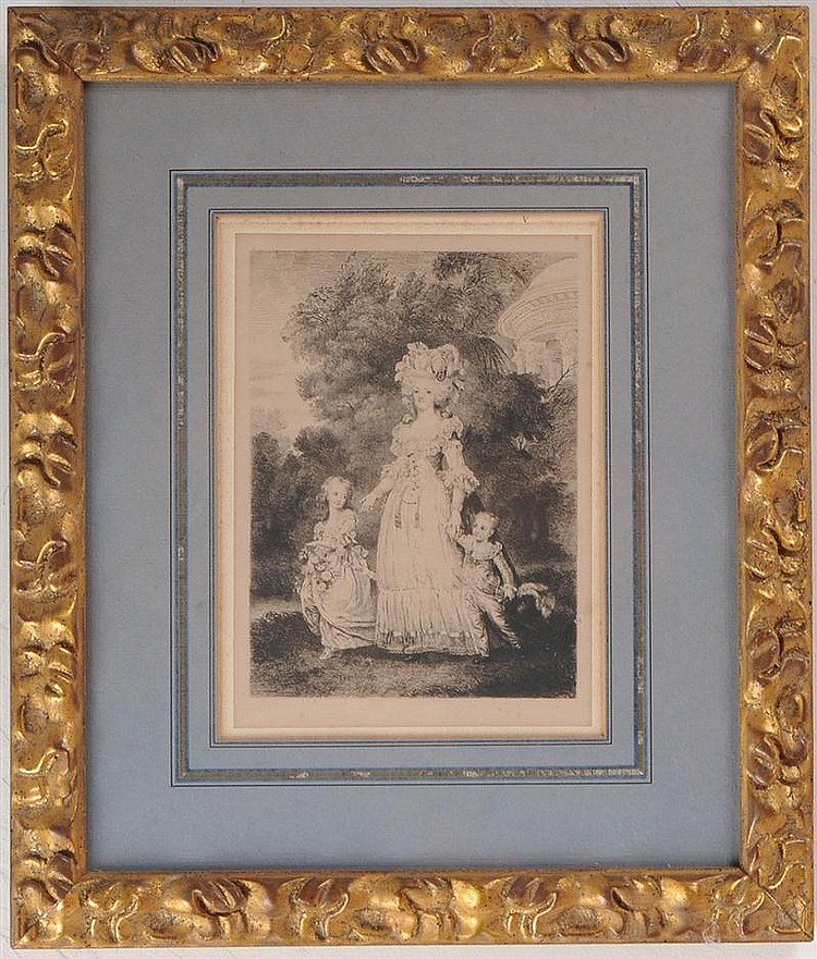 Group of Five Framed Facsimile Letters from Marie Antoinette and Louis XVI and Seven Engravings Showing Marie Antoinette