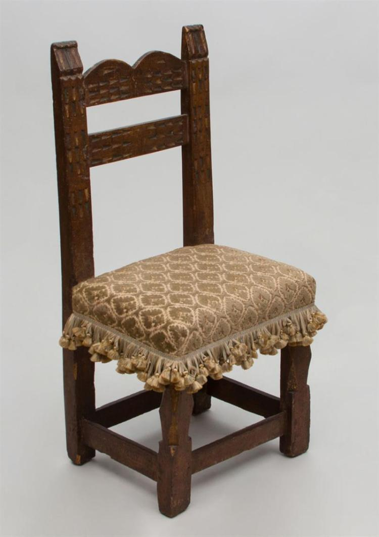 Spanish baroque carved walnut and parcel gilt child 39 s chair for Spanish baroque furniture