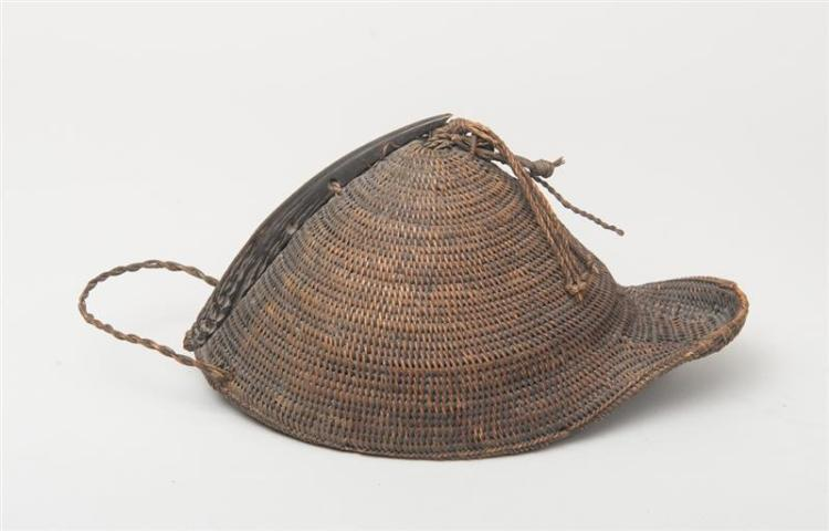 Woven Disc Basket : Indian woven raffia hat and a basket cover
