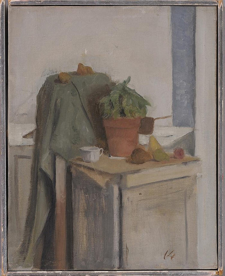 LENNART ANDERSON (AMERICAN, b. 1928): STILL LIFE WITH FRUIT, POTTED PLANT AND MUG