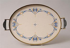 GERMAN JUGENDSTIL PATINATED-METAL MOUNTED GLAZED STONEWARE BOWL, DESIGNED BY EMMY VON EGIDY (1872-1946)