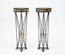 Pair of Empire Style Gilt-Metal-Mounted Black Painted Metal Jardinières