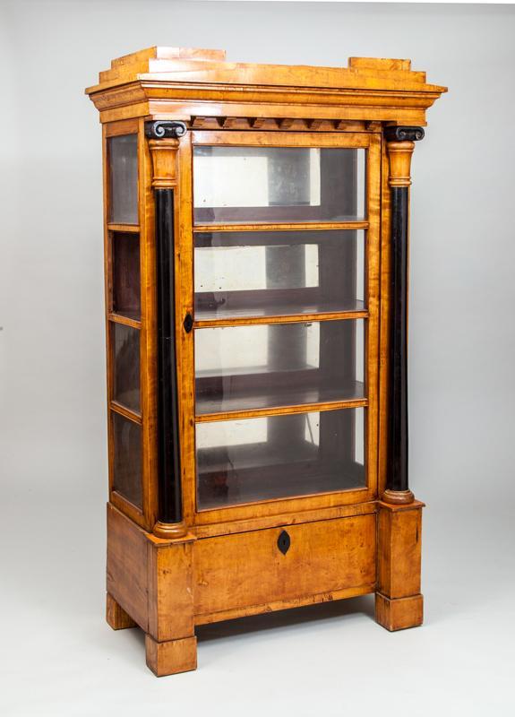 Biedermeier Birch and Ebonized Wood Vitrine Cabinet