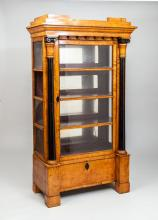 Biedermeier Birch and Ebonized Wood Vitrine Cabinet