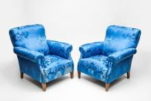 Pair of Blue Damask Upholstered Club Chairs