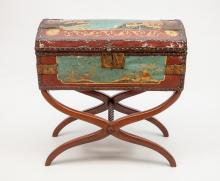 Continental Polychrome Painted and Parcel-Gilt Trunk on Stand