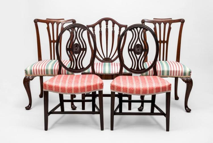 Assembled Group of Five George III Carved Mahogany Side Chairs