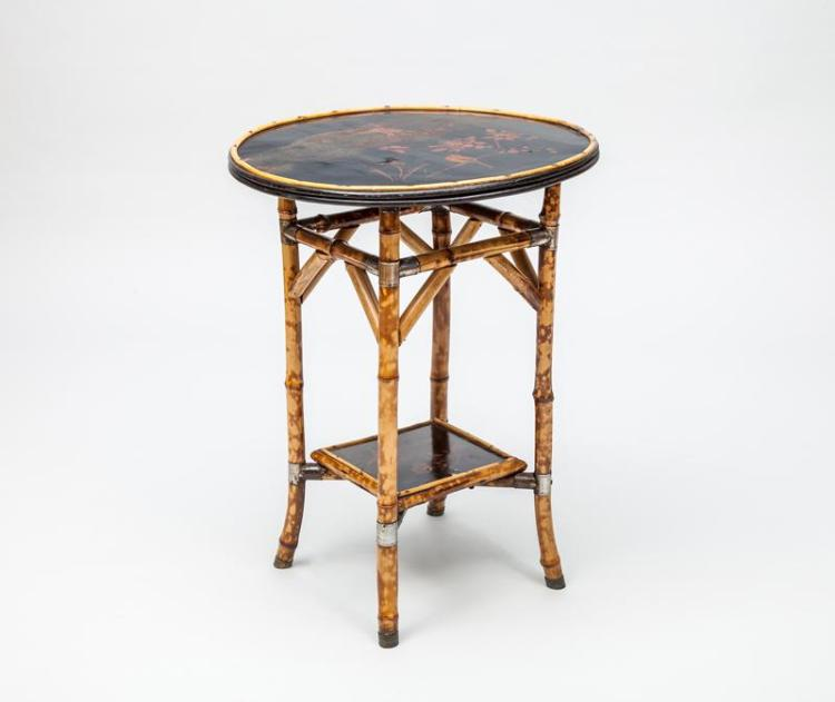 English Black Japanned and Red Lacquer Bamboo Side Table