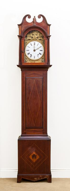 Federal Inlaid Mahogany Tall Case Clock, Dial Signed Mathieu aux Vans