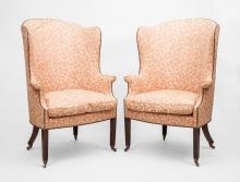 Pair of George III Style Mahogany Wing Chairs, 20th Century
