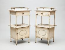 Pair of Tôle Peinte and Marble Bed Side Tables