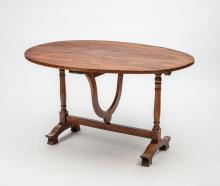 Continental Fruitwood Tilt-Top Wine Table, Probably French