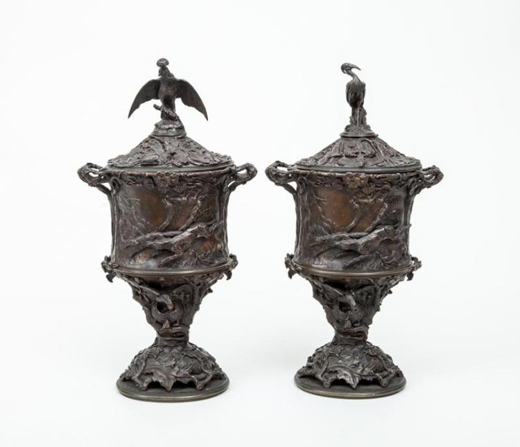 After Pierre-Jules Mêne (1810-1879): Pair of Bronze Covered Urns