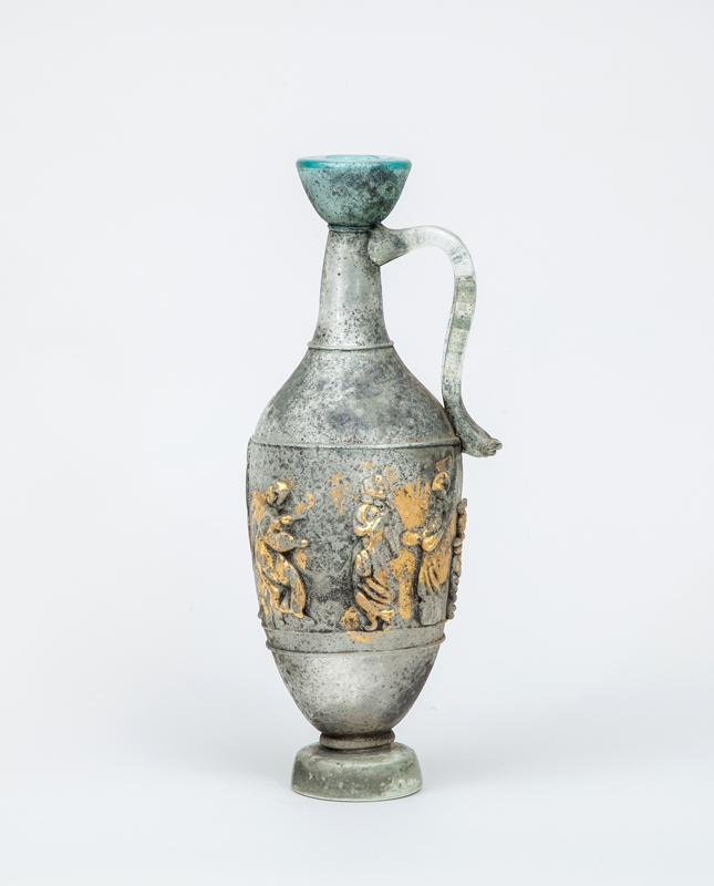 Etruscan Style Figural-Decorated Glass Ewer, After the Antique