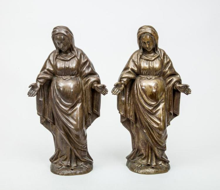 20th Century School: Pair of Identical Figures of the Virgin Mary