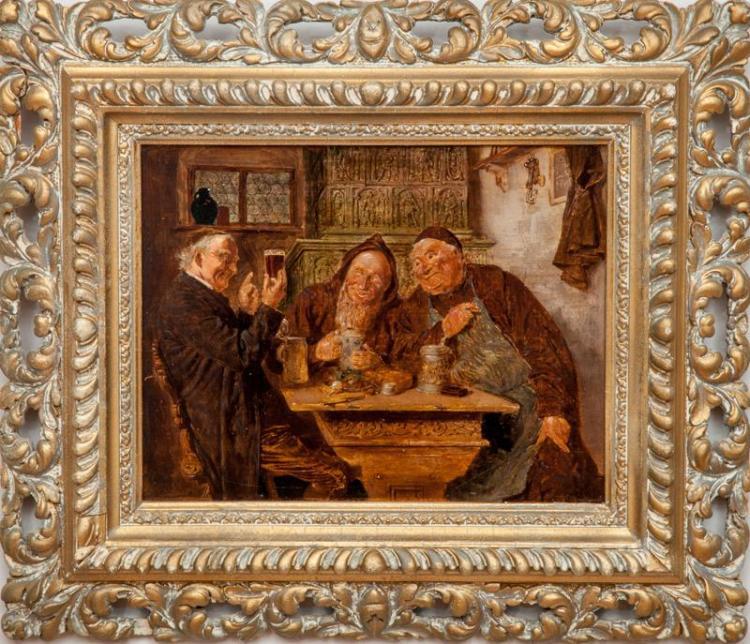 Eduard Theodor Ritter von Grützner (1846 –1925): Monks Imbibing; and Monks in Conversation