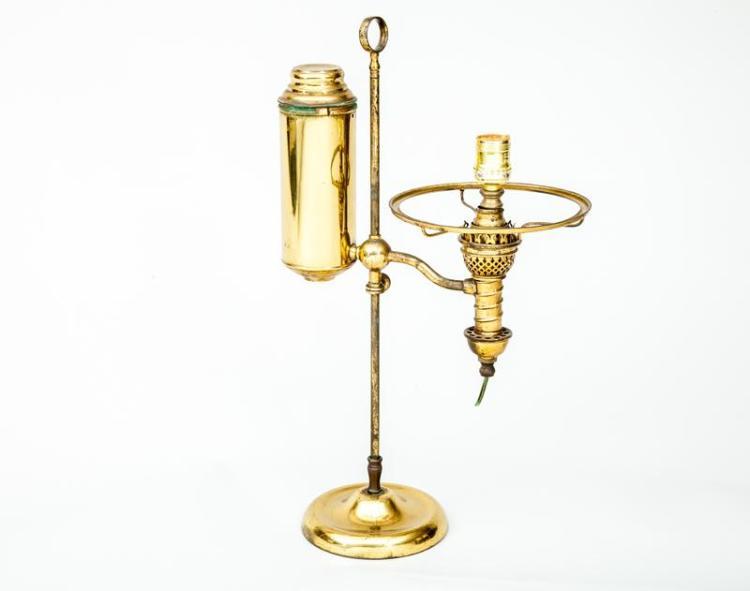 Brass Student''s Oil Lamp