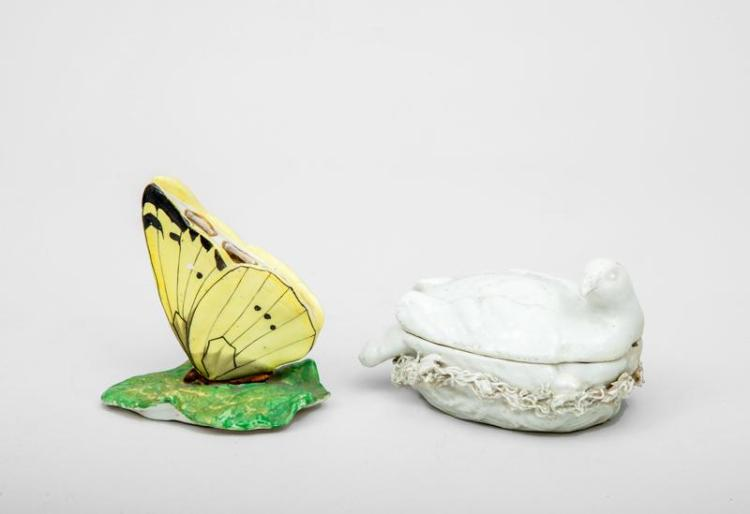 English Porcelain Butterfly-Form Pen Holder and an Ivory Glazed Porcelain Dove-on-Nest Table Decoration