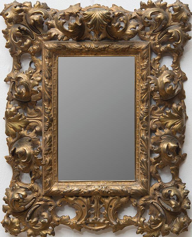 Italian baroque style gilt metal mirror for Italian baroque mirror