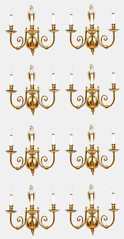 Four Pairs of Brass Wall Lights