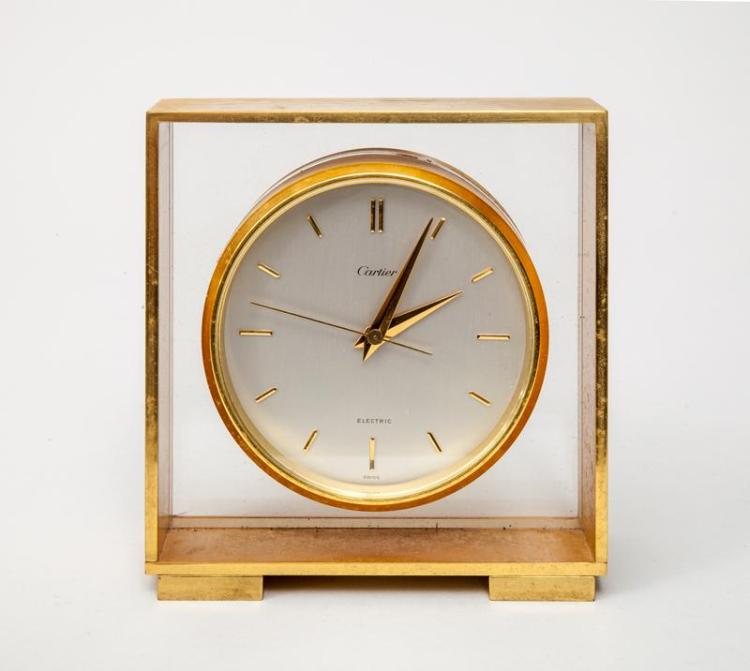 Cartier Brushed Gilt-Metal Clock