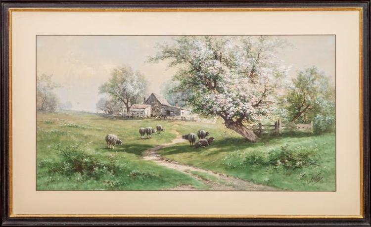 Carl Phillip Weber (1850-1921): Sheep Grazing Under an Apple Tree