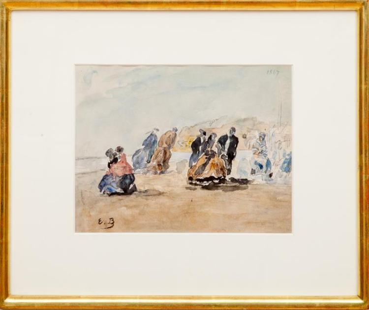 Attributed to Eugène Boudin (1824-1898): On the Seashore